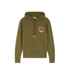VELVET FOX HEAD PATCH CLASSIC HOODIE KHAKI