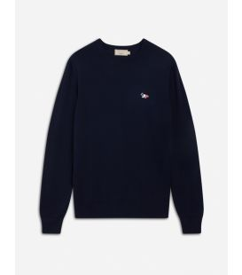 R-NECK PULLOVER TRICOLOR FOX PATCH NAVY
