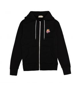 BOXING FOX PATCH CLASSIC ZIPPED HOODIE BLACK