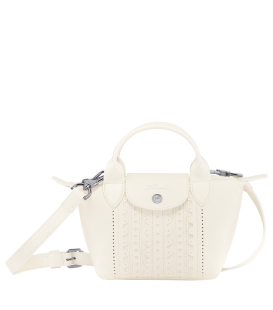 LE PLIAGE CUIR BRODERIE ANGLAI TOP HANDLE BAG XS IVORY