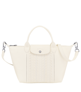 LE PLIAGE CUIR BRODERIE ANGLAI TOP HANDLE BAG S IVORY